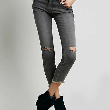 Gray Ripped High Waist Jeans