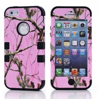 CRHK® Triple Layer Heavy Duty 3 In 1 Hybrid Impact Pink Camouflage Camo Tree Print Dirtproof Cover Black Silicone Case for 2013 Apple iPhone 5C + Screen Protector + CRHK stylus