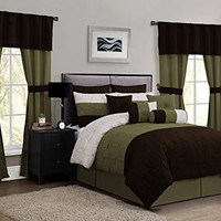 Geneva Home Fashion 20-Piece Lenox Comforter Set, King, Taupe/Sage/Chocolate