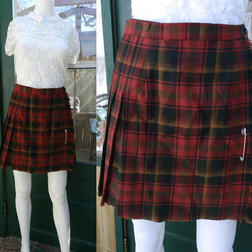 Plaid Pleated Cropped Skirt / 80's Clueless Tartan Skirt / Vintage School Girl Uniform Skirt / Plaid Tartan Wool Skirt Size 14