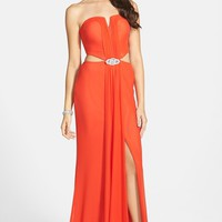 Junior Women's Hailey Logan Embellished Cutout Gown
