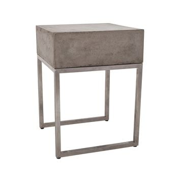 Bulwark Side Table Waxed Concrete and Stainless Steel