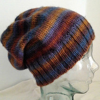 Knit Slouchy Hat, Striped Knit Hat, Colorful Knit Slouchy, Blue and Gold Hat