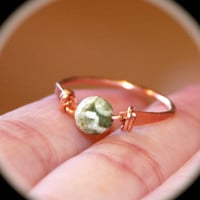Green and White Copper Ring or Solid Sterling Silver Ring, Handmade Ring, Gemstone Ring, Toe Ring, Midi Ring, Woodland