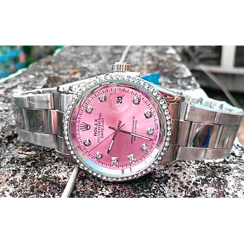 Free shipping-Rolex men and women tide brand simple fashion wild quartz watch Silver+pink