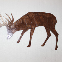 Buck Deer Grazing Profile Shot Metal Wall Art Country Rustic Hunting Home Decor