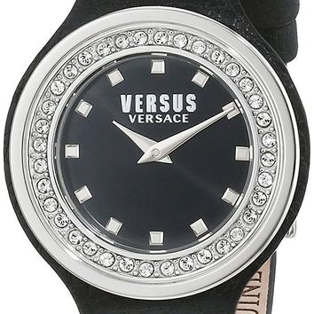Versus by Versace Women's 'CARNABY STREET CRYSTAL' Quartz Stainless Steel and Leather Casual Watch, Color:Black (Model: SCG150016)