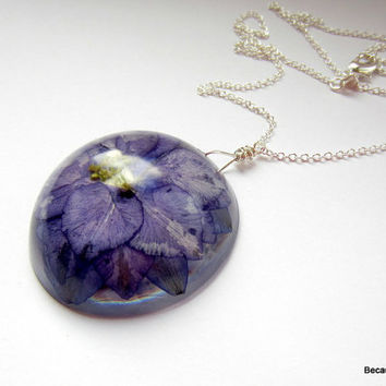 Real Flower Resin Long Necklace, Pressed Flower Pendant, Larkspur Necklace, Dried Flower Jewelry, Purple Necklace, Sterling Silver