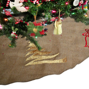 Christmas Tree Skirt In Natural Burlap With Christmas Tree And Ribbon Embroidered