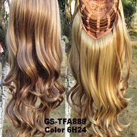 "HOT 3/4 Half Long Curly Wavy Wig Heat Resistant Synthetic Wig Hair 200g 24"" Highlighted Curly Wig Hairpieces with Comb Wig Hair GS-TFA888 6H24"