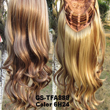 """HOT 3/4 Half Long Curly Wavy Wig Heat Resistant Synthetic Wig Hair 200g 24"""" Highlighted Curly Wig Hairpieces with Comb Wig Hair GS-TFA888 6H24"""