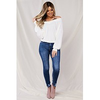 Reese Waffle Knit Top (Off White)