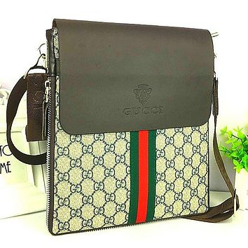 GUCCI Men Office Bag Leather Satchel Shoulder Bag Crossbody