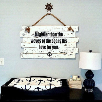 Mightier Than The Waves Psalm 93:4 Hand Painted Sign, Large Wood Sign, Large Nursery Sign, Nursery Sign Decor