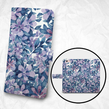 iPhone 6 6S Plus case Samsung Galaxy S6 case Edge case Note 5 4 3 2 PU leather flip cover Book Phone case Wallet case - Flowers and Leaves