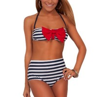 Juniors Retro Bow Bandeau Removable Halter Strap High Waist Bikini Swimsuit