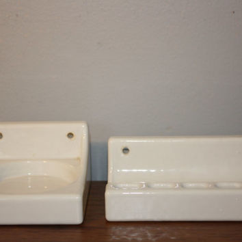Vintage Wall Mounted Toothbrush and Cup Holder, Porcelain Fixtures DIY