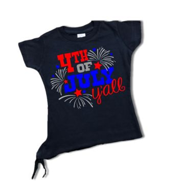 "Toddler Girl ""4TH OF JULY YA'LL"" Black T-Shirt"