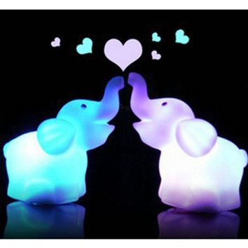 Actionclub Children Baby Toys Led Light 7 Color Changing Cute Elephant LED Night Light Lamp Birthday Gift For Kids Party Decor