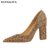 Gold Glitter Heels 2017 Sequin Cloth Prom High Women Gray Pointed Toe Sliver Fashion Spring New Autumn Pumps Shoes BT-A0033