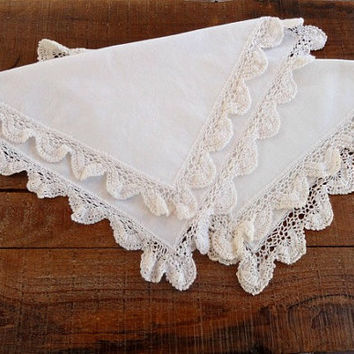Vintage White Doilies with Crocheted Trim, Set of 2, Wedding Decor, Home Decor, Housewares