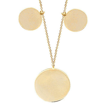 14k Solid Gold Disc Luck Necklace Name Tag