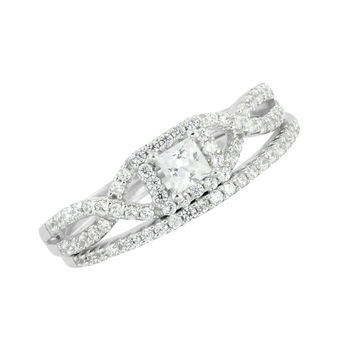 Womens Wedding Ring Engagement Matching Free Band Solitaire 925 Silver CZ Stones