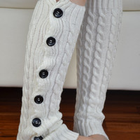 Boot Leg warmer in ivory, boot cuffs, knitted boot cuffs, button socks, boot socks, knee high socks, boot topper, accessories .. W02