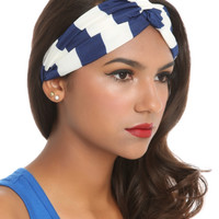 LOVEsick Blue And White Striped Stretch Headband