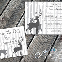 Rustic deer Wedding invitation-Country wedding invitation and rsvp that is a double sided postcard - deer wedding invites- printable wedding