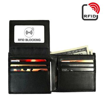 RFID Antimagnetic Genuine Leather Trifold Wallet 9 Card Slots Casual Vintage Card Pack For Men