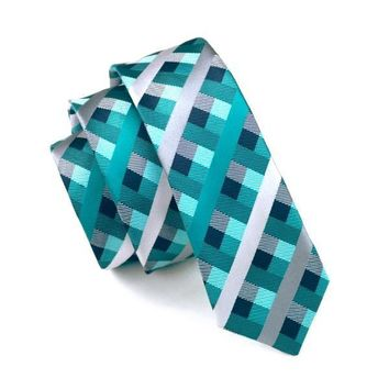 Slim Tie Green Teal Dimgray Plaid Skinny Narrow Gravata Silk Jacquard Woven Neck Ties For men 6cm width Casual