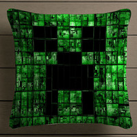 Minecraft Creeper Game Square Pillow Case Custom Zippered Pillow Case one side and two side