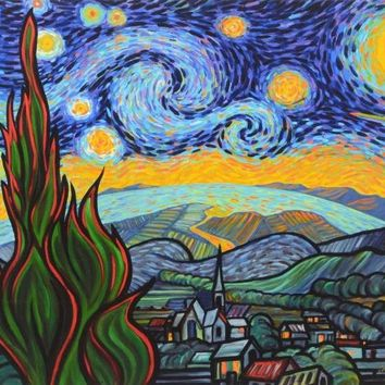 Starry Night Attack - Limited Edition Gallery Proof Giclee on Canvas by Charles Lynn Bragg