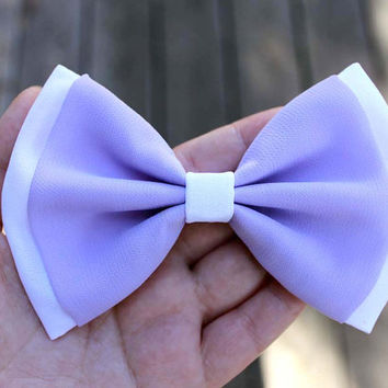 "4.75"" lavender chiffon hair bow, pastel color hair bow, lavender hair bow, two colors hairbow, pastel purple and white bow, big hair bow"