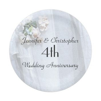 Vintage Lace Paper Plates, 4 Wedding Anniversary Paper Plate