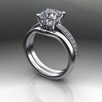 Forever Brilliant Moissanite and Diamond Engagement Ring and Band 1.70 CTW