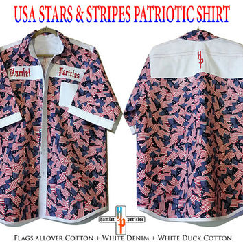 USA Patriotic Shirt | Stars and Stripes | Red White Blue | XXL Men's Shirt | US Flag Collage | Button Down Shirt by Hamlet Pericles | S52911