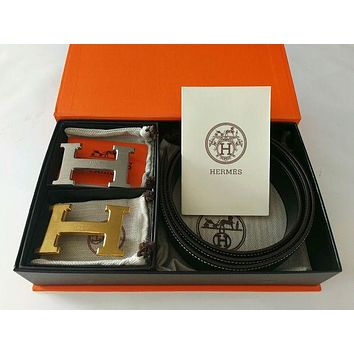 Brand New Authentic Hermes Black 110CM/38MM Belt 2H Golden-Sliver Buckle I