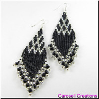 Native American Style Beadwork Seed Bead Earrings, Black and Silver Czech Point