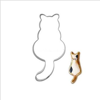 Cat Cookies Cutter Mousse Biscuit Stamp Modelling Stainless Steel Cookie Tools Bake-ware Cheap Item Baking Supplies
