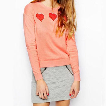 Fashion Peach Heart knit sweater
