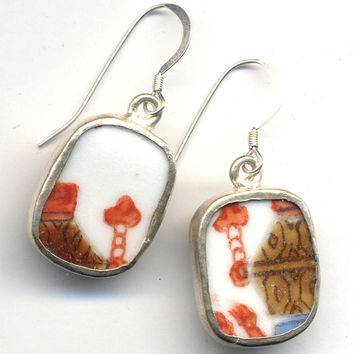 Antique Pottery Earrings in Tangerine, Brown  and White on Sterling Silver earrwire SALE