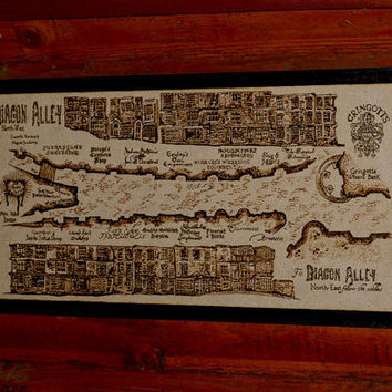 Diagon Alley map  - woodburned home decoration