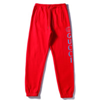 GUCCI New fashion letter print sports leisure loose couple pants Red