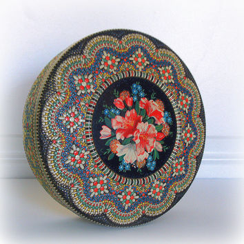 VINTAGE DECORATIVE BOX - 1950s Ornate Floral Biscuit Tin - Large - Round - Made in Holland - Mosacic Style - Roses - Victorian - Bohemian