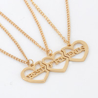 New Style Broken 3 Parts Gold Color Heart Pendant Necklaces Best Friend Letters Necklace Fashion Jewelry Friends Party Gift