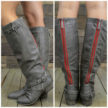 Montana Skye Grey Red Zipper Rustic Riding Boots