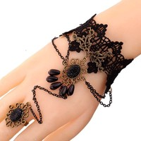 Yazilind Lolita Flower Acrylic Waterdrop Beads Black Lace Slave Bracelets with Ring