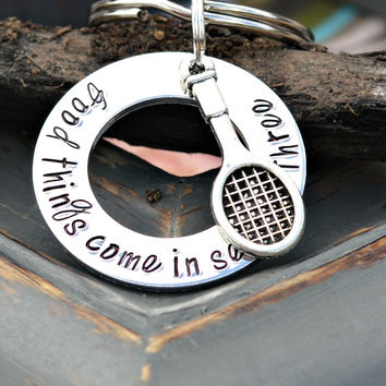 Tennis Coach Gift - Tennis Keychain - Tennis gifts - Good things come in sets of three
